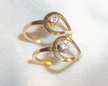 Cute Vintage Estate Gold CZ Earrings