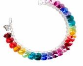 Rainbow Heart to Heart Sterling Silver & SWAROVSKI crystal Charm Bracelet