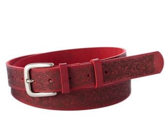 Red-real-leather belt-Art Nouveau style-metal buckle-hand crafted-gift