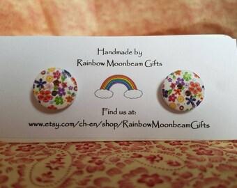 Handmade Floral Button Earrings, Stud Earrings, Wooden Floral Button Earrings