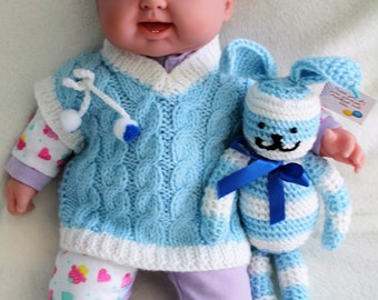 Hand-Knit Blue, Pink or Orange Sweater Vest for Infants and Babies, Acrylic