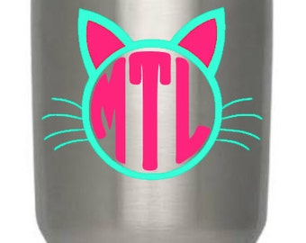 Monogrammed Kitty Cat Decal/Cat Lover Decal/Cat Decal/Personalized Cat Monogram/Vinyl kitty Decal/Vinyl Decal