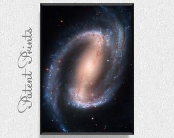 Spiral Galaxy NGC 1300 Cloud Poster, Space Art Print, Space Wall Art, Astronomy Poster, Universe Art, Universe Print, Kids Room Wall Decor
