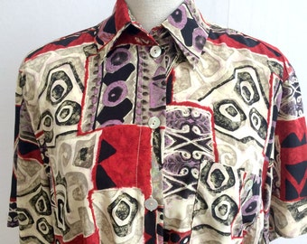 70s shirt, 80s shirt, 80s short  sleeved shirt, 80s pattern , mens shirt, 80s mens shirt, 1980s mens shirt 1980s shirt for men BETTY BARCLAY