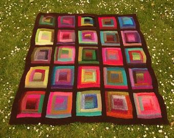 Pure wool Noro Paintbox log cabin blanket - Handmade