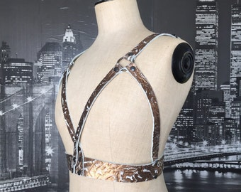 Leather harness belt, BDSM harness, leather adjudtable harness belt.