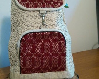 Handwoven jute and cotton backpack