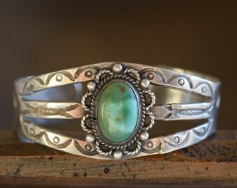 Turquoise Native Southwestern Silver 925 Cuff, Used Vintage
