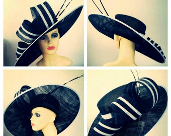 Extra large black and white striped statement hat