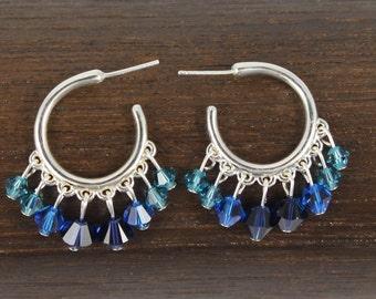 Blue Swarovski Beaded Hoop Earrings,Beaded Hoop Earrings,92.5 Sterling Silver Beaded Hoop Earrings,, Boho Earrings