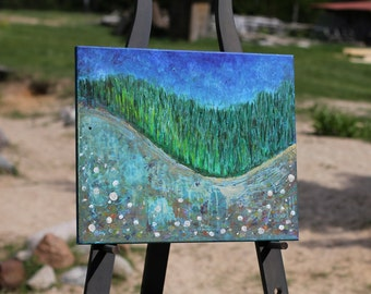 Original painting - Green River with Grass and Roses- Landscape painting Acrylic abstract painting  painting
