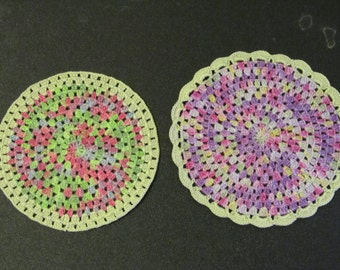 2 small crocheted doilies