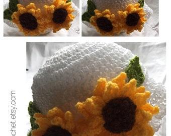 Handmade Crocheted Sunflower Sunhat