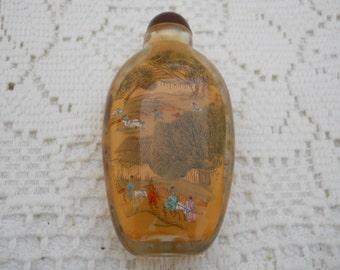 Vintage Hand Painted On Inside Perfume Bottle #546