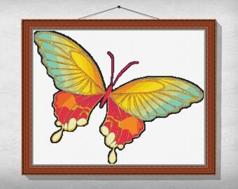 CROSS-STITCH-PATTERN-Butterfly, Instant download pdf