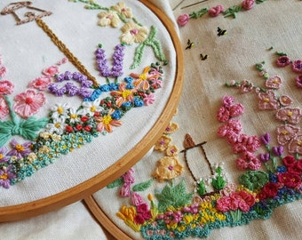 Stunning Hand Embroidered Cottage Garden Bird House Picture Panel