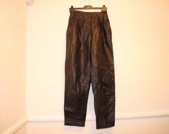 vintage Leather Trousers Black High Waisted Tapered 1980s US UK Size 10 Waist 32