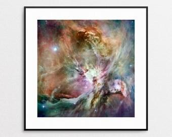 Space Art - Wall Art - Hubble Telescope Image - Orion Nebula - NASA Photo - Wall Decor - Square Print - Astronomy - Colorful Decor - Stars