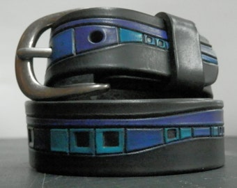 Black, purple, teal abstract design leather belt