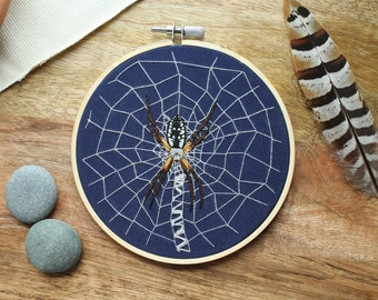 Spider Hoop Art, Spider Embroidery, Insect Embroidery, Spider, Hand Embroidery, Embroidery Hoop Art, Insect Art, Spider Art, Boho Decor