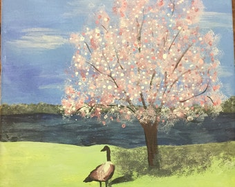 Tree by the river canvas