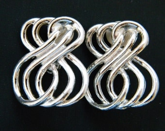 """Vintage Geometric Retro Statement Earrings Figure 8 Abstract Silver Tone Clip On 1.25"""""""