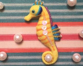 Seahorse Needle-felt Wool Brooch