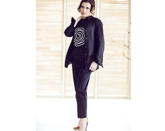Women linen shirt - Black linen tunic - Long sleeves shirt - Summer linen shirt - Thin linen shirt -  Casual linen tunic - EN-48