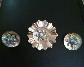 Old vintage brooch with matching clip on earrings