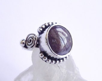 Night Red Star Ruby silver ring size 8