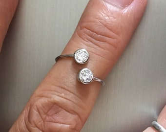 Sterling Silver Toe Ring W/ CZ, Midi Ring, Pinky Ring, Knuckle Ring