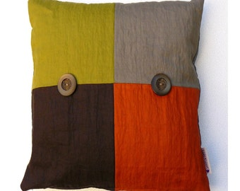 """Square decorative pillow/ Orange, brown, gray and green pillow cover - 16""""x16"""" - Linen pillow cover- COLLECTION MILANO"""