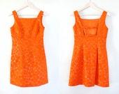 90s does 60s Orange Mini Dress Deadstock Nanette Lepore Flowers Floral Groovy Clueless Sake Fifth Avenue