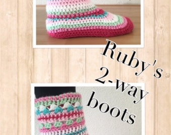 Crochet pattern Ruby's 2-way boots (english)