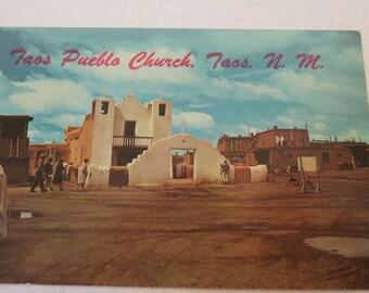 Vintage Taos Pueblo Church, Taos, New Mexico Postcard
