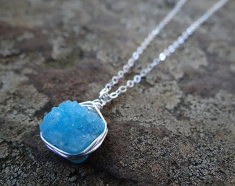 Bright Blue Square Wire Wrapped Druzy (Sterling Silver)
