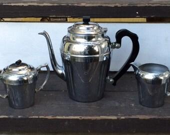 Mid-Century Chromium Bakelite Coffee/ Tea Service