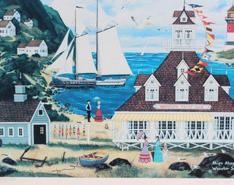 """Jane Wooster Scott Hand Signed and Numbered Limited Edition Framed Lithograph:""""Ships Ahoy!"""