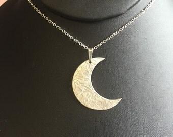 Fine Silver Moon Pendant