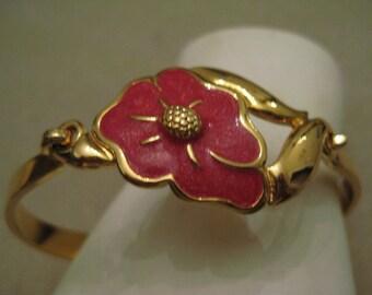 Dark Rose Enamel Flower Gold Tone Metal Clampter Bracelet