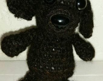 Small stuffed toy dog. Handspun 100% alpaca yarn.
