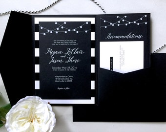 Lights and Stripes : Wedding Invitation Suite