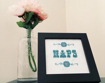 """Finished, framed, cross stitch, """"naps"""""""