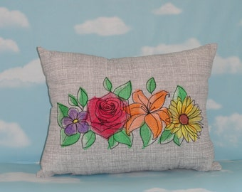 Pillow - Embroideered Pillow - Flowers