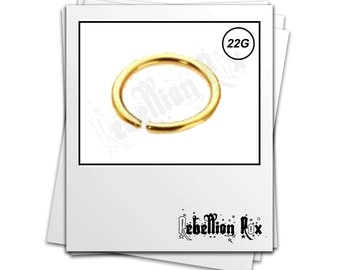 Gold Nose Hoop, Gold Nose Ring, 10mm, 22g Continuous Nose Ring Hoop,  Gold Plated Seamless, Nose Hoop, Gold Nose Ring - GPSSNH01
