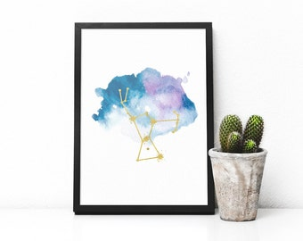 Printable  Orion constellation print, Orion art, Orion star sign, Astronomy poster, blue watercolor and gold