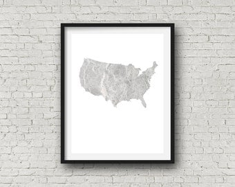 Marble USA Map - Minimal - Digital Prints - (8 inch x 10 inch)