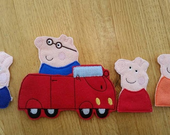 Peppa Pig inspired family finger puppets and car