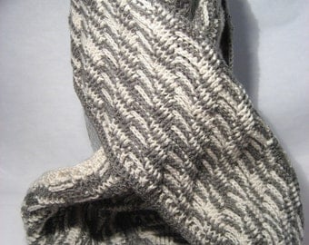 Cowl Infinity Scarf - Beige and Grey - Wave Pattern (056-10W6)