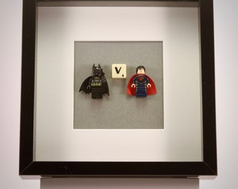 Batman V  Superman  Super Hero mini Figures framed picture 25 by 25 cm